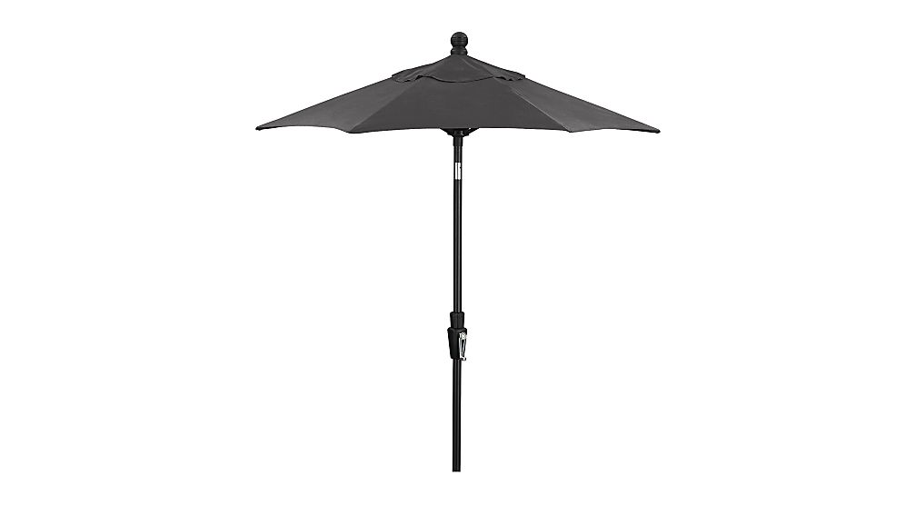 6' Round Sunbrella ® Charcoal Patio Umbrella with Tilt Black Frame