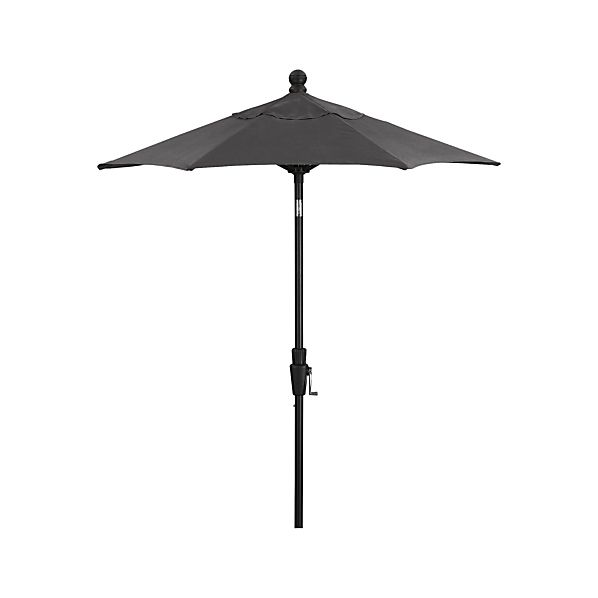 6' Round Sunbrella ® Charcoal High Dining Umbrella with Tilt Black Frame