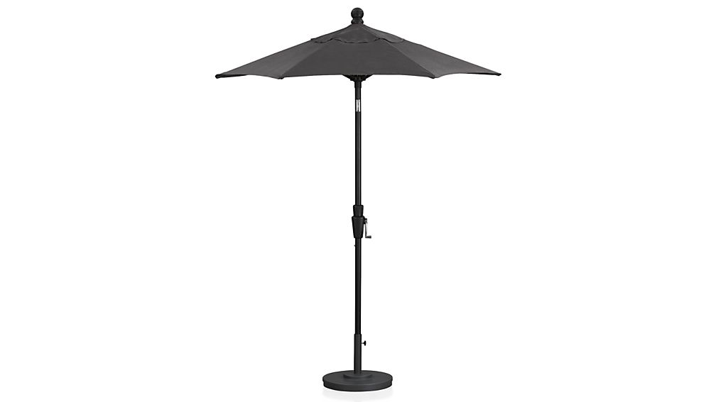 6' Round Sunbrella ® Charcoal High Dining Patio Umbrella with Tilt Black Frame