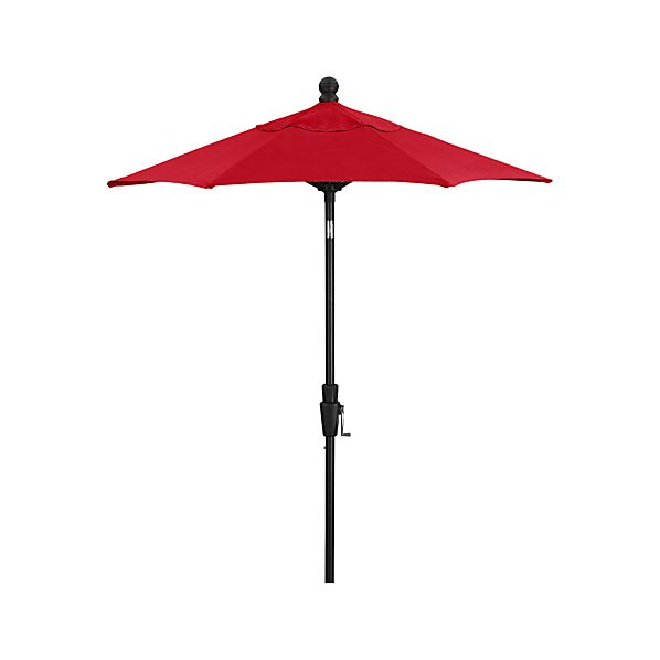6' Round Sunbrella ® Ribbon Red Umbrella with Tilt Black Frame