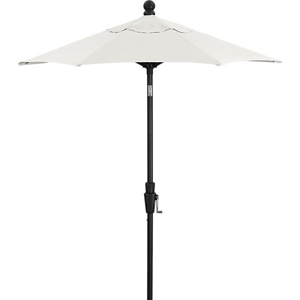 6' Round Sunbrella® White Sand High Dining Umbrella with Tilt Black Frame