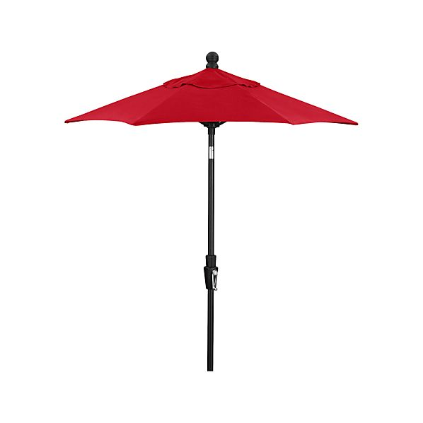6' Round Sunbrella ® Ribbon Red High Dining Umbrella with Tilt Black Frame