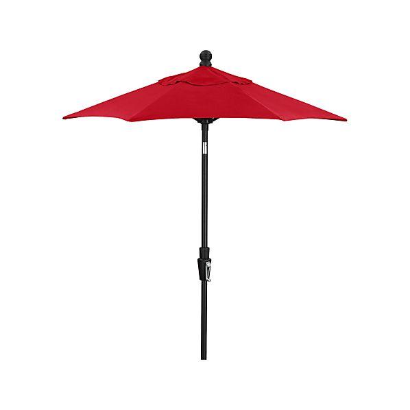 6' Round Sunbrella® Ribbon Red High Dining Umbrella with Tilt Black Frame