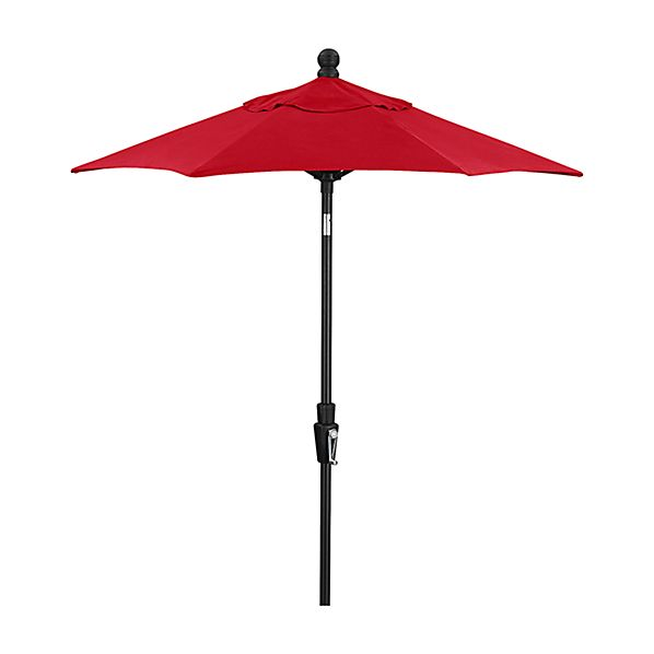 6' Round Sunbrella ® Ribbon Red High Dining Patio Umbrella with Tilt Black Frame