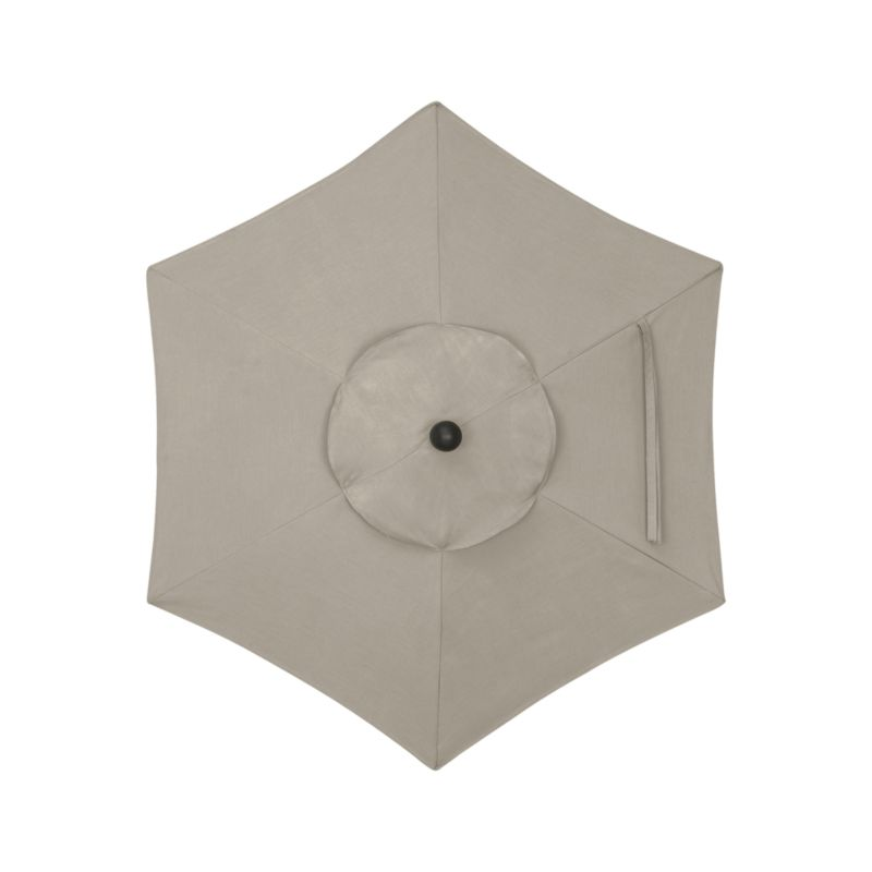 "A neutral stone canopy in fade- and mildew-resistant Sunbrella® acrylic blocks out 98% of the sun's rays. Fits our 6' round frames. For frame and stand options with this cover, see below (frames and stands sold separately).<br /><br /><NEWTAG/><ul><li>Cover: fade- and mildew-resistant Sunbrella acrylic umbrella (fits our 6' round frames; spot clean)</li><li>Frames (sold separately): aluminum tilt with black finish; 90""H for dining table or 94""H for high dining table</li><li>Stands (sold separately): rustproof poly resin and stone-polyester mixture, in charcoal finish</li><li>Small stand accommodates all our aluminum umbrella frames and 9' round eucalyptus frame</li><li>Use large stand with any of our umbrella frames: accommodates 1.5""dia. frame with adapter, or 1.875""dia. frame without adapter (adapter included)</li><li>Large stand works with a table or on its own</li><li>Made in USA</li></ul>"