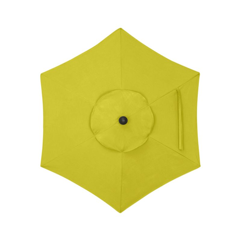 "Bright yellow canopy in fade- and mildew-resistant Sunbrella® acrylic blocks out 98% of the sun's rays. Fits our 6' round frames. For frame and stand options with this cover, see below (frames and stands sold separately).<br /><br /><NEWTAG/><ul><li>Cover: fade- and mildew-resistant Sunbrella acrylic umbrella (fits our 6' round frames; spot clean)</li><li>Frames (sold separately): aluminum tilt with black finish; 90""H for dining table or 94""H for high dining table</li><li>Stands (sold separately): rustproof poly resin and stone-polyester mixture, in charcoal finish</li><li>Small stand accommodates all our aluminum umbrella frames and 9' round eucalyptus frame</li><li>Use large stand with any of our umbrella frames: accommodates 1.5""dia. frame with adapter, or 1.875""dia. frame without adapter (adapter included)</li><li>Large stand works with a table or on its own</li><li>Made in USA</li></ul>"