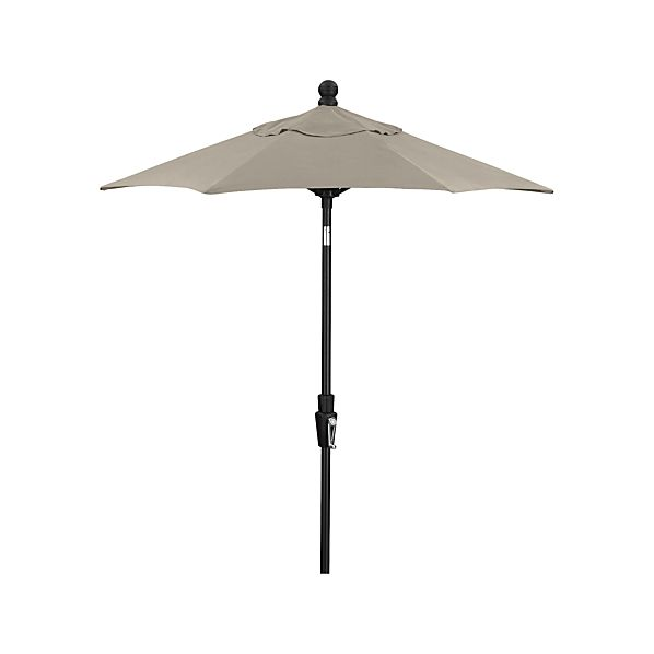 6' Round Sunbrella® White Sand Umbrella with Tilt Black Frame