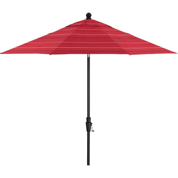 9' Round Sunbrella® Red Tonal Stripe Umbrella with Black Frame