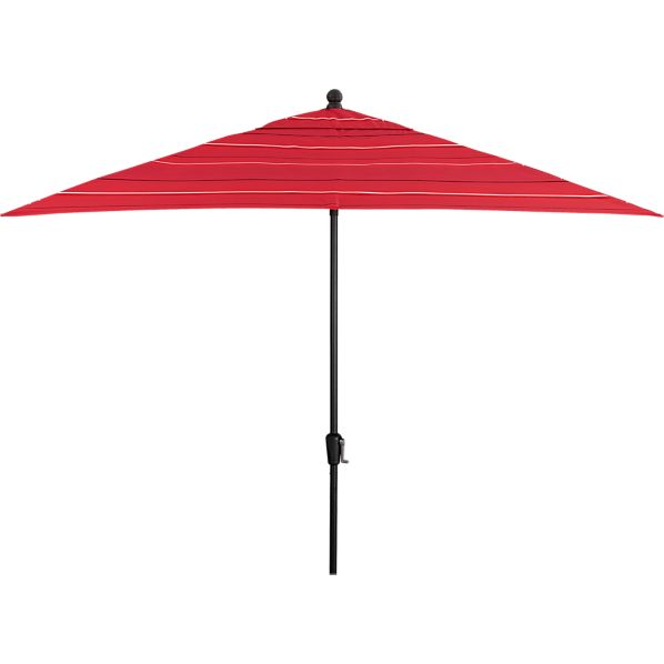 Rectangular Sunbrella ® Red Tonal Stripe Umbrella with Black Frame