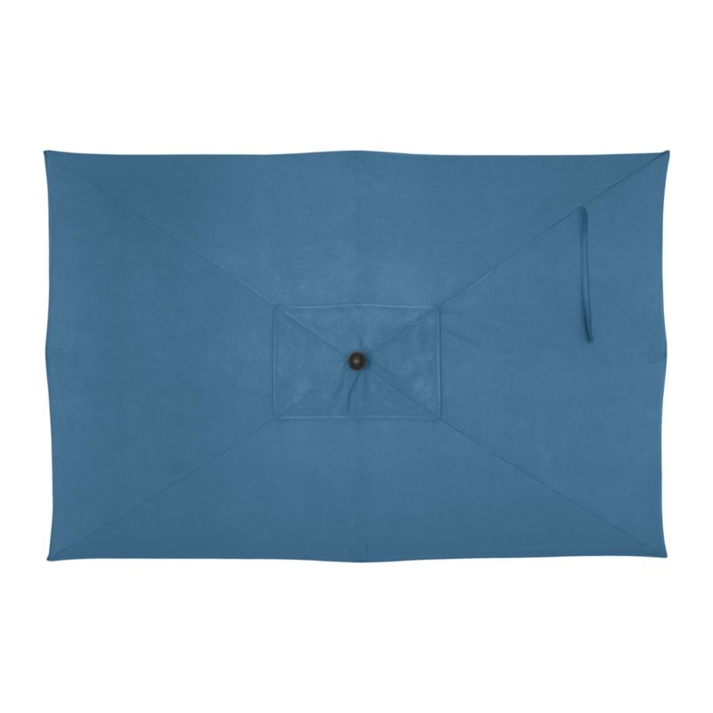 """An oversized, deep blue canopy of fade- and mildew-resistant Sunbrella® acrylic blocks up to 98% of the sun's UV rays. Fits all of our rectangular frames. For frame and stand options with this cover, see below (frames and stands sold separately).<br /><br /><NEWTAG/><ul><li>Cover: fade- and mildew-resistant Sunbrella acrylic umbrella (fits all our rectangular frames; spot clean)</li><li>Frames (sold separately): adjustable FSC-certified eucalyptus with solid brass pulley; or aluminum with black finish</li><li>Stands (sold separately): rustproof poly resin and stone-polyester mixture, in charcoal finish</li><li>Small stand accommodates our rectangular umbrellas with metal frames</li><li>Large stand works with any of our umbrella frames: accommodates 1.5""""dia. frame with adapter, or 1.875""""dia. frame without adapter</li><li>Large stand works with a table or on its own</li><li>Made in USA</li></ul>"""