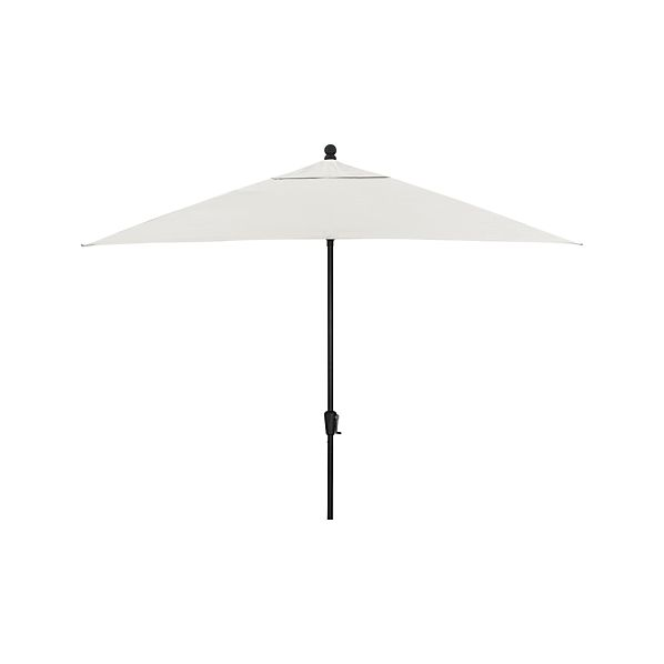 Rectangular Sunbrella® White Sand Umbrella with Black Frame
