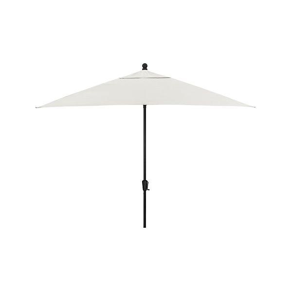 Rectangular Sunbrella ® White Sand Umbrella with Black Frame