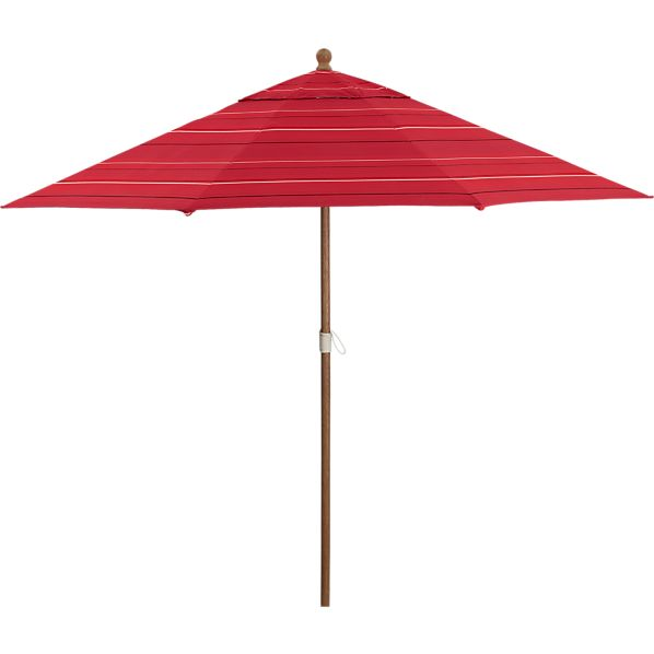 9' Round Sunbrella® Red Tonal Stripe Umbrella with Eucalyptus Frame