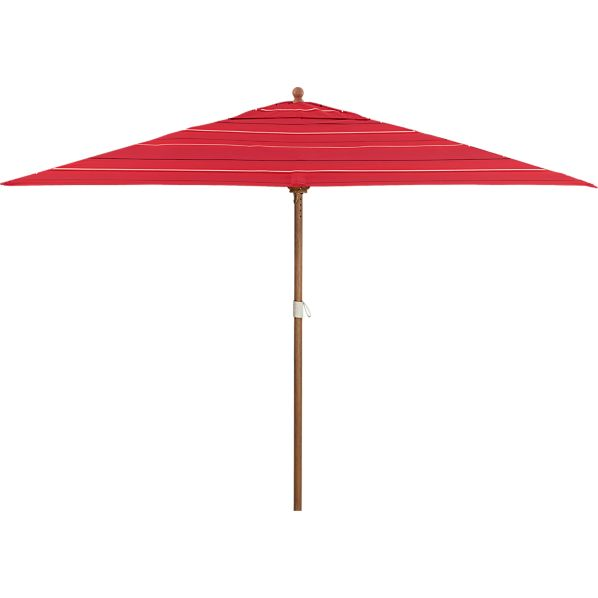 Rectangular Sunbrella® Red Tonal Stripe Umbrella with Eucalyptus Frame