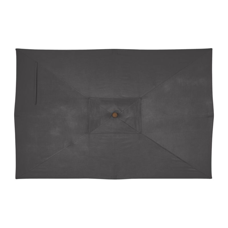 """An oversized, chic charcoal canopy of fade- and mildew-resistant Sunbrella® acrylic blocks up to 98% of the sun's UV rays. Fits all of our rectangular frames. For frame and stand options with this cover, see below (frames and stands sold separately).<br /><br /><NEWTAG/><ul><li>Cover: fade- and mildew-resistant Sunbrella acrylic umbrella (fits all our rectangular frames; spot clean)</li><li>Frames (sold separately): adjustable FSC-certified eucalyptus with solid brass pulley; or aluminum with black finish</li><li>Stands (sold separately): rustproof poly resin and stone-polyester mixture, in charcoal finish</li><li>Small stand accommodates our rectangular umbrellas with metal frames</li><li>Large stand works with any of our umbrella frames: accommodates 1.5""""dia. frame with adapter, or 1.875""""dia. frame without adapter</li><li>Large stand works with a table or on its own</li><li>Made in USA</li></ul>"""