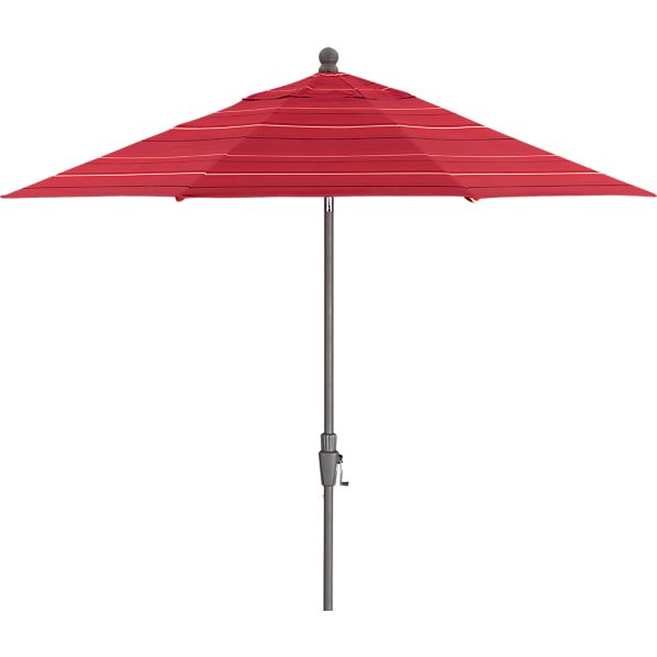 9' Round Sunbrella® Red Tonal Stripe Umbrella with Silver Frame