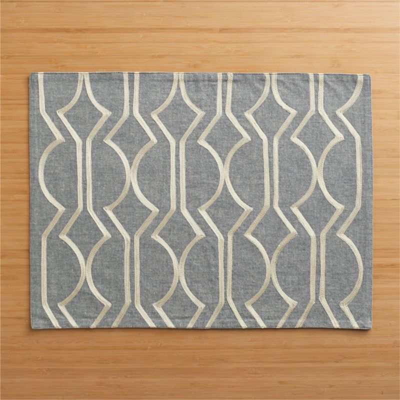 Angles and curves play in an elegant fretwork of pale gold on a classic shade of grey. Mid-century influenced pattern is hand-embroidered in an exclusive design.<br /><br /><NEWTAG/><ul><li>Handcrafted</li><li>100% cotton</li><li>100% rayon embroidery</li><li>Dry clean</li></ul>
