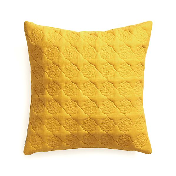 "Marvis Yellow 20"" Pillow with Down-Alternative Insert"