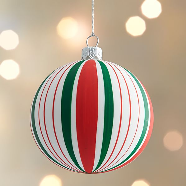 Matte Stripe Design Ball Ornament