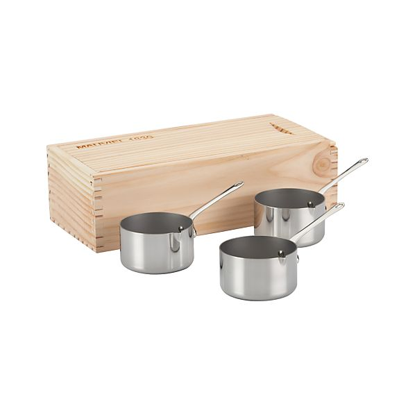 Set of 3 Mauviel Stainless-Steel Mini Servers Pans in Box