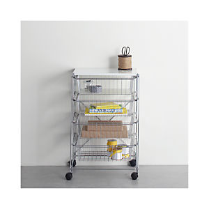 MAX Chrome 4-Drawer Cart with White Top