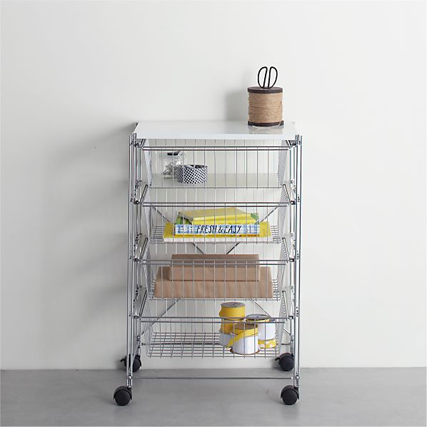 MAX Chrome Four-Drawer Cart with White Top