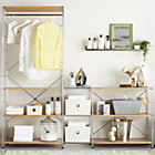 "MAX Laundry Chrome Modular Shelving Set. 1 Chrome 6-Shelf Unit with Wood Shelves, 1 Chrome 3-Shelf Unit with Wood Shelves,  3 Chrome 16"" Individual Shelves,  1 Chrome Hanging Rod."