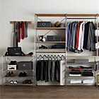 "MAX Closet Chrome Modular Shelving Set. 1 Chrome 3-Shelf Unit, 1 Chrome 6-Shelf Unit with Wood Shelves,  2 Chrome Hanging Rods,  1 Chrome 6-Shelf Unit, 3 Chrome 31"" Baskets with Liners."