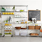 MAX Pantry Chrome Modular Shelving Set. 1 Chrome 6-Shelf Unit, 1 Chrome 3-Shelf Unit, 1 4-Drawer Cart with White Top.