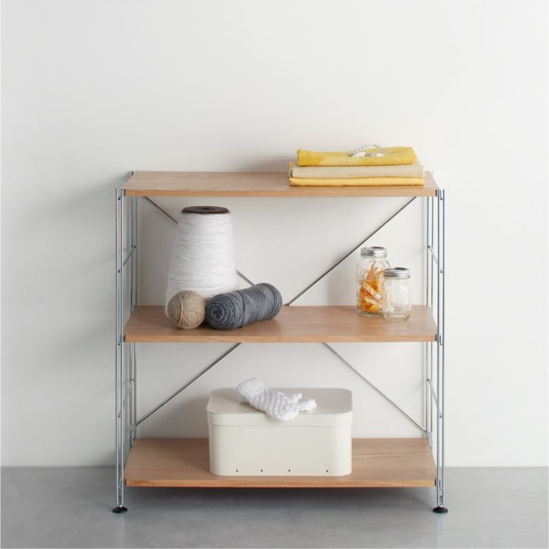 Max chrome 3 shelf unit with wood shelves crate and barrel - Wooden kitchen shelf unit ...