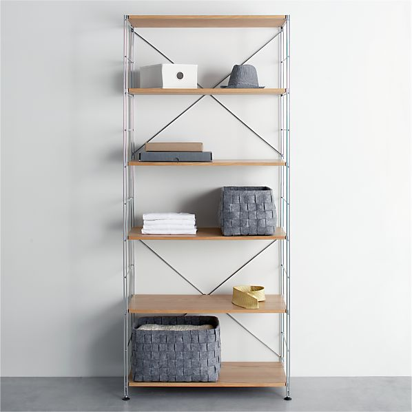 MAX Chrome Six-Shelf Unit with Wood Shelves