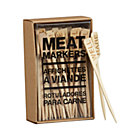 Set of 50 bamboo meat markers: five of each design.