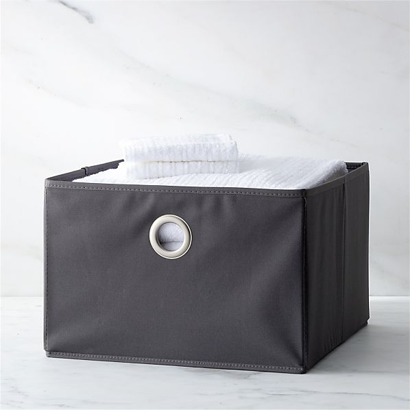 Grey Large Storage Bin with Grommet
