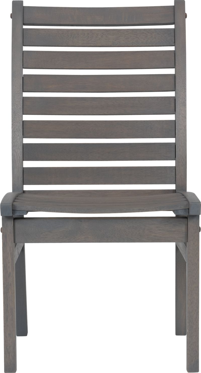 Civilized outdoor entertaining at an inviting price. Slatted construction in solid eucalyptus timber with a warm grey stain and galvanized steel hardware. Chair features comfortably angled back and seat. To maintain the original color, apply clear linseed oil.<br /><br /><NEWTAG/><ul><li>Eucalyptus wood</li><li>Grey stain</li><li>Galvanized steel hardware</li><li>Made in Indonesia</li></ul><br />