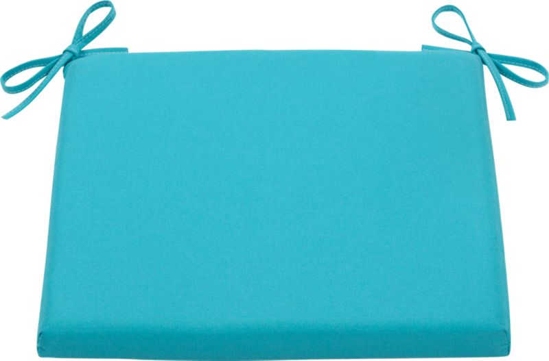 Civilized outdoor entertaining at an inviting price. Optional weather-resistant arm side chair cushion with tie closures is covered in bright aqua Sunbrella acrylic.<br /><br /><NEWTAG/><ul><li>Fade- and mildew-resistant Sunbrella solution-dyed acrylic</li><li>Water repellent</li><li>100% polyeurethane insert</li><li>Fabric tie closures</li><li>Made in Thailand</li></ul>