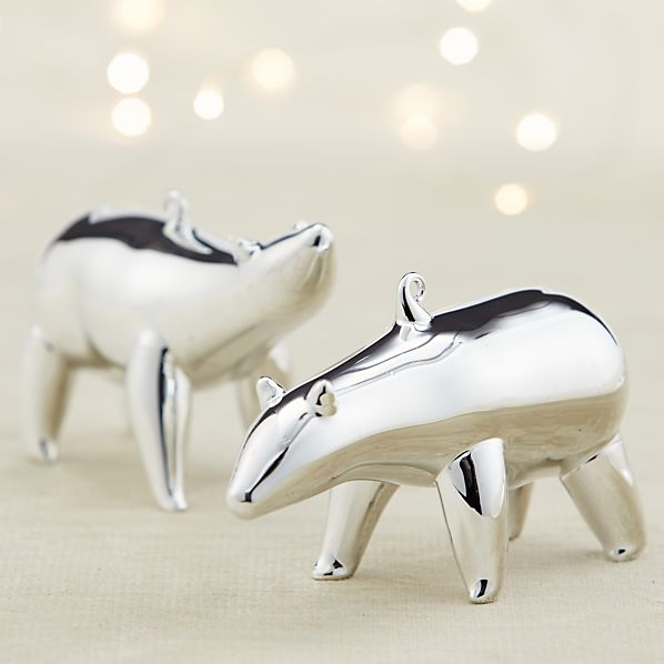 Mercury Glass Polar Bear Ornaments