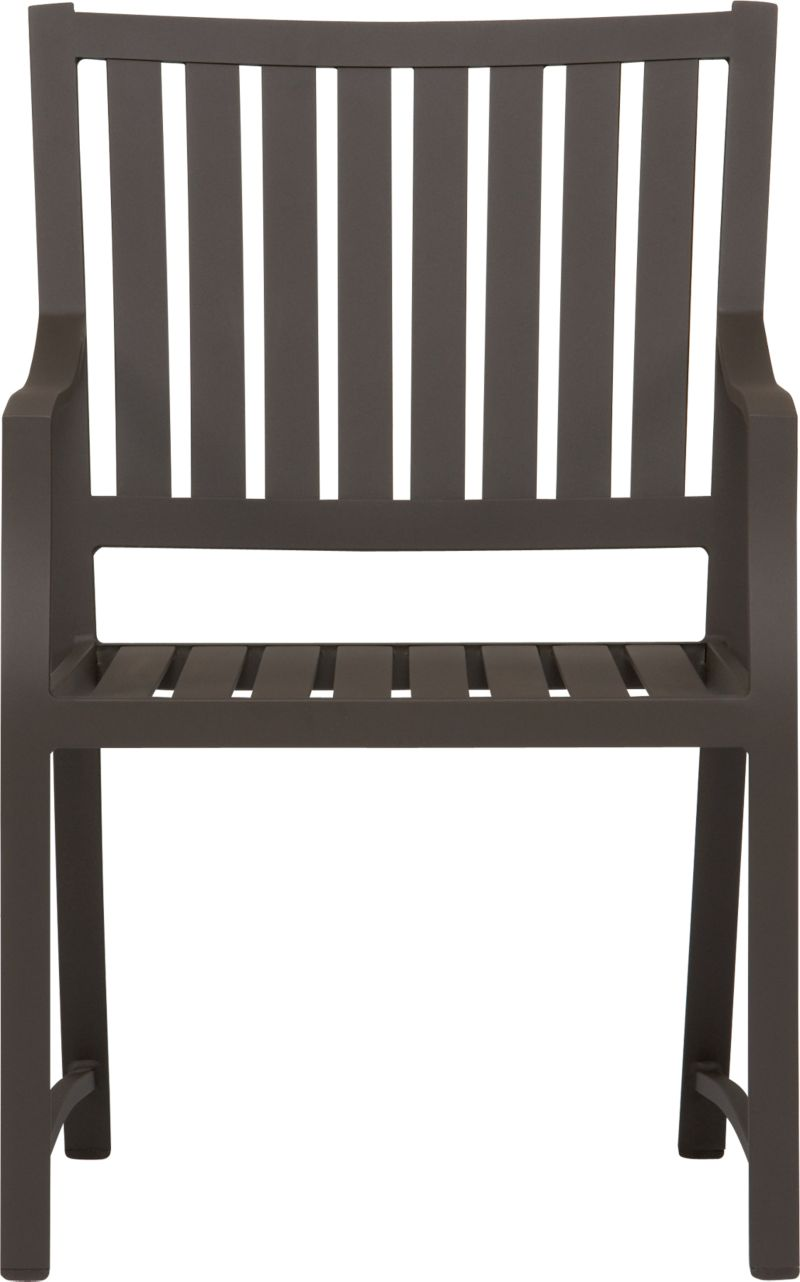 Easy pieces for outdoor entertaining. Angled for lingering, dining chairs have wide seats and backs with a modern angle at the arms. Crafted of durable yet lightweight rustproof extruded aluminum in a contemporary slatted design with a smooth, bronze powdercoat that stands up to the elements.<br /><br /><NEWTAG/><ul><li>Rustproof extruded aluminum</li><li>Bronze powdercoat finish</li><li>Made in Vietnam</li></ul>