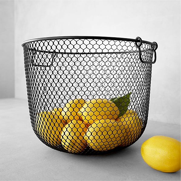 Small Black Mesh Bin with Handles