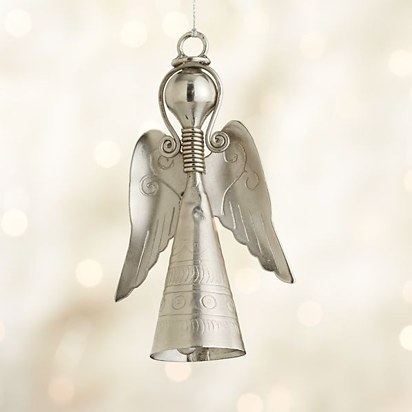 Metal Angel With Bell Moon Dress Ornament