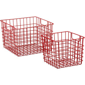 Red Metal Bins with Handles