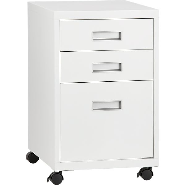 3-Drawer White Metal Cabinet