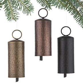 Metallic Bell Ornaments Set of Three