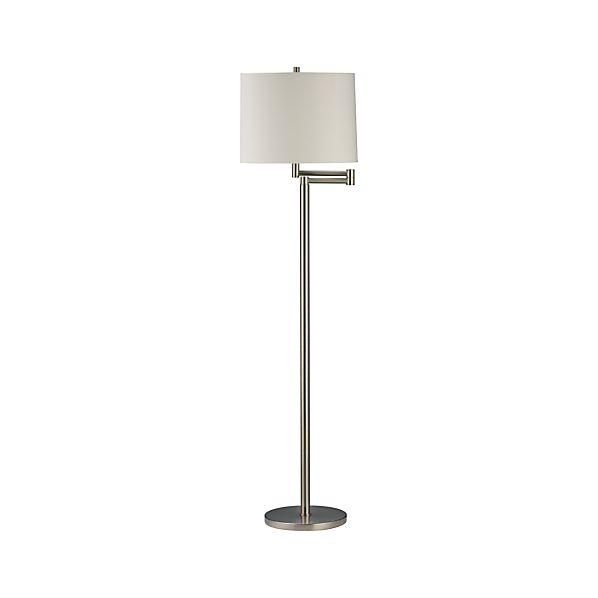 metro ii brushed nickel swing arm floor lamp crate and barrel. Black Bedroom Furniture Sets. Home Design Ideas