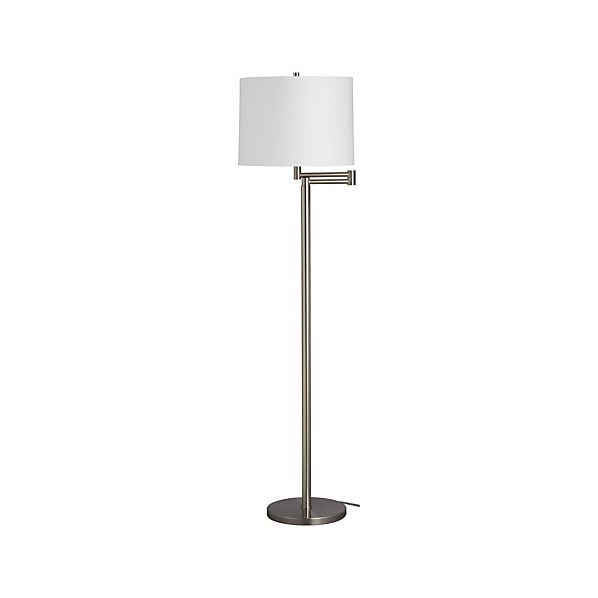 Metro II Nickel Swing Arm Floor Lamp | Crate and Barrel
