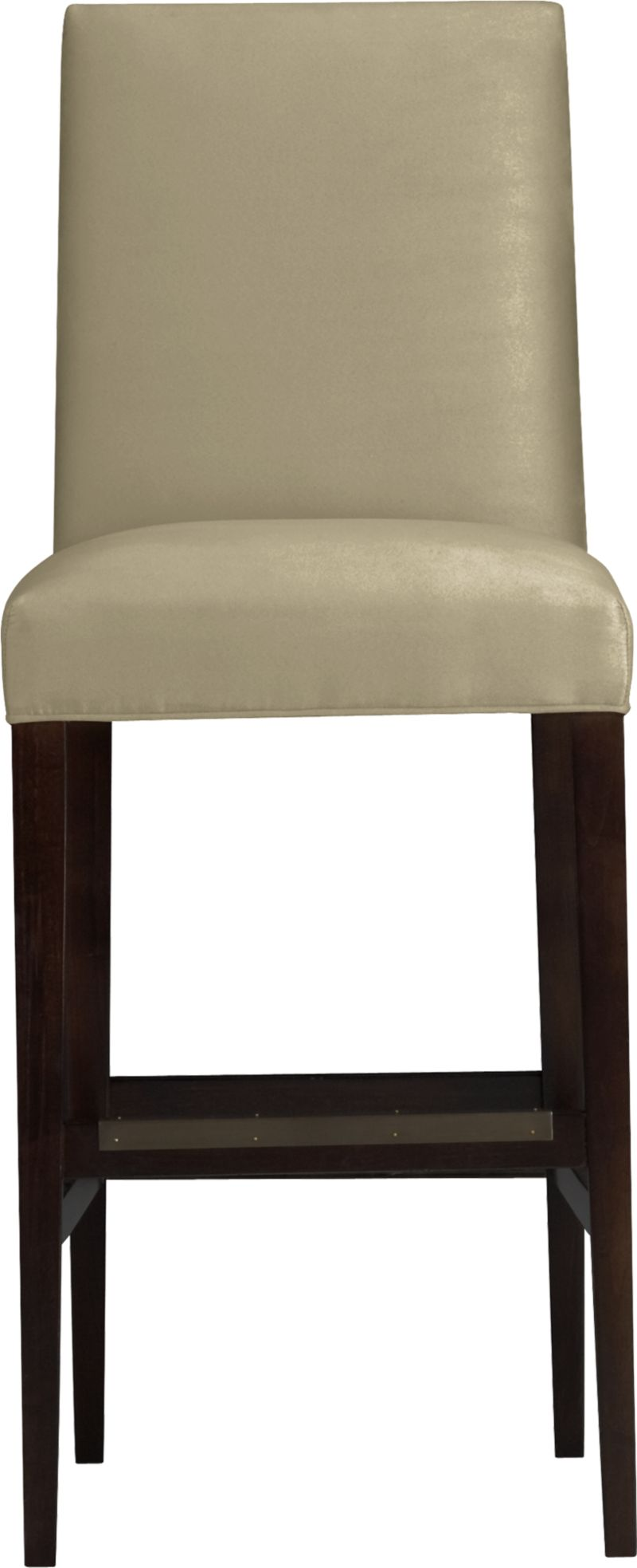 "Our Miles barstool is a fresh new classic with polished proportions and casual formality. Padded seat and gently curved back are upholstered in an easy-care textural poly blend in neutral sand. Slim hickory-colored hardwood legs taper gracefully to the floor.<br /><br />After you place your order, we will send a fabric swatch via next day air for your final approval. We will contact you to verify both your receipt and approval of the fabric swatch before finalizing your order.<br /><br /><NEWTAG/><ul><li>Eco-friendly construction</li><li>Certified sustainable solid engineered hardwood frame</li><li>Soy- or plant-based polyfiber cushions</li><li>Solid maple legs with a hickory finish</li><li>Poly-cotton blend fabric</li><li>30""H seat sized for bars</li><li>Made in North Carolina, USA</li></ul>"