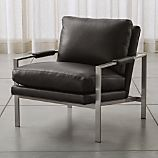 Milo Classic Leather-Nickel Lounge Chair