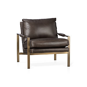 Milo Classic Leather Brass Lounge Chair