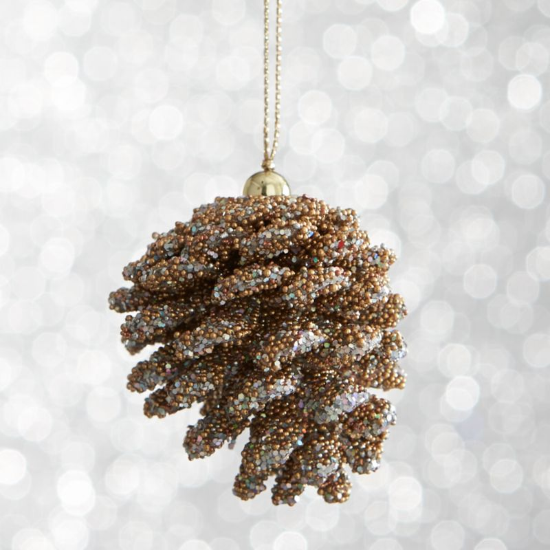Mini Beaded Gold Pinecone Ornament