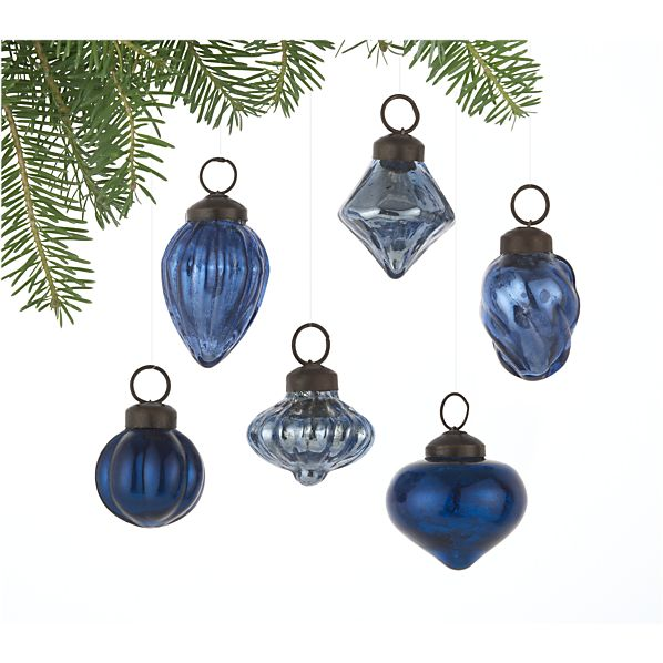 Set of 6 Mini Antiqued Blue Ornaments