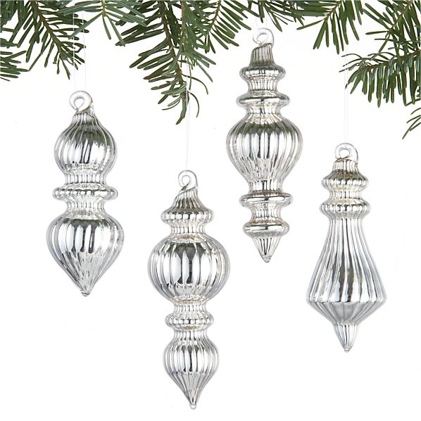 Set of 4 Mini Finial Ornaments